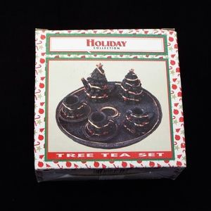 Vintage Miniature Holiday Collection Tree Tea Set